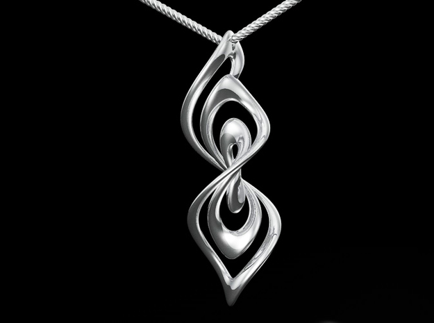 Spiral² 02 (fixed) in Fine Detail Polished Silver