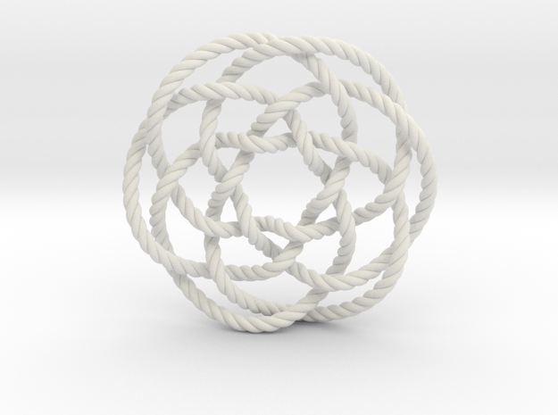 Rose knot 6/5 (Rope) in White Natural Versatile Plastic: Extra Small