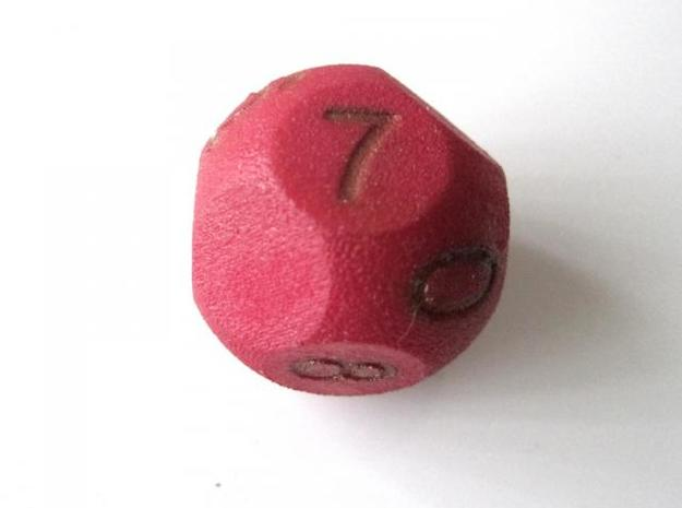 D10 3-fold Sphere Dice 3d printed In Winter Red Strong and Flexible (colors on the numbers manually added)