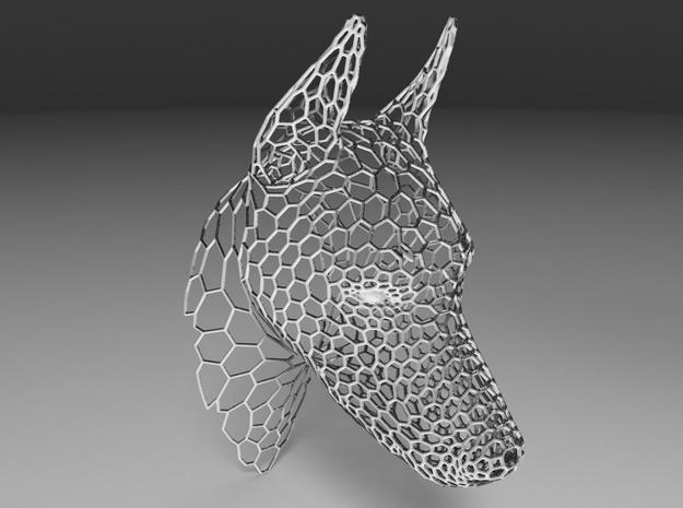 Voronoi Doberman head in White Strong & Flexible
