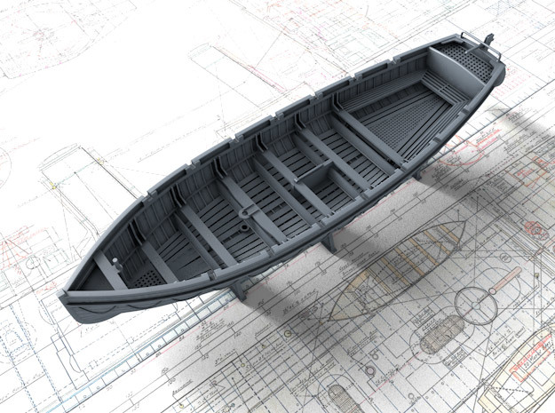 1/144 Scale Royal Navy 32ft Cutter x1 in Smooth Fine Detail Plastic
