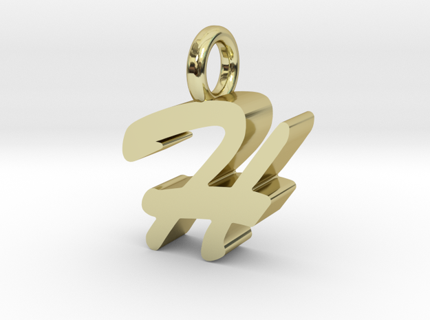 H - Pendant - 3 mm thk. in 18k Gold Plated Brass