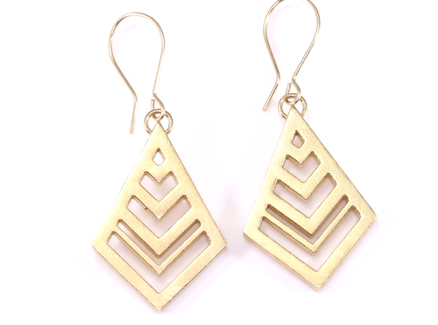 Geometric Diamonds Earrings in Natural Brass