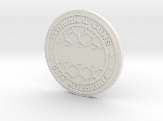 1:9 Customizable City of Cardiff manhole in White Natural Versatile Plastic