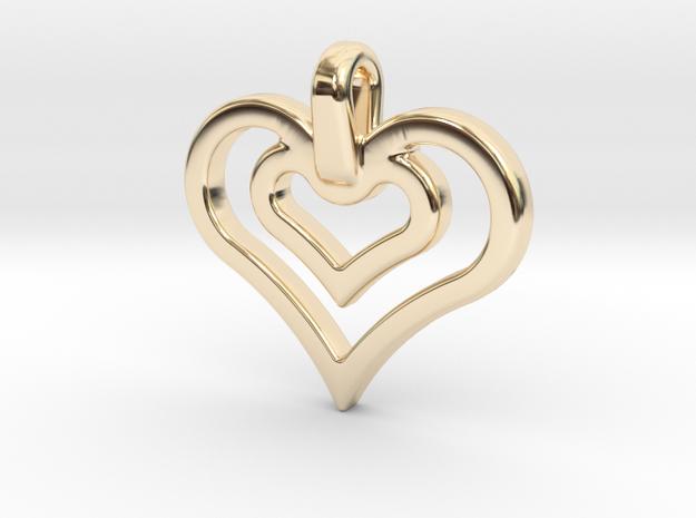 heart jewel in 14k Gold Plated Brass