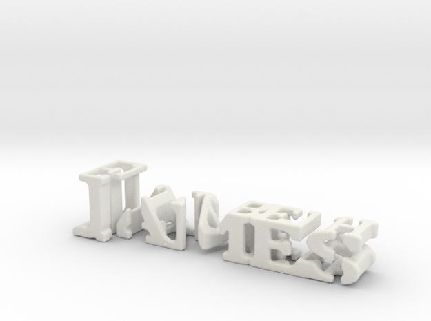 3dWordFlip: James/Elizabeth in White Natural Versatile Plastic