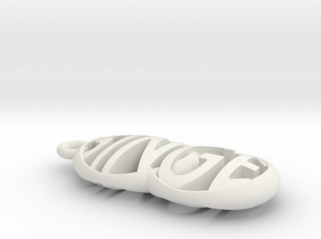 SINGE keychain in White Natural Versatile Plastic