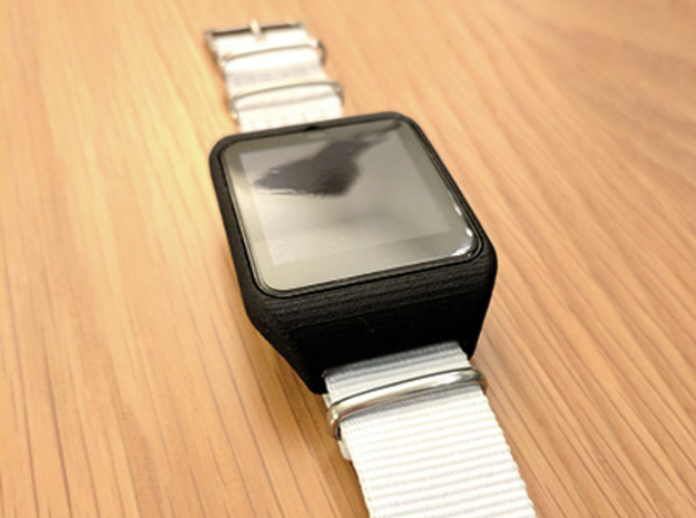Sony Smartwatch 3 NATO 24mm adapter in Black Natural Versatile Plastic