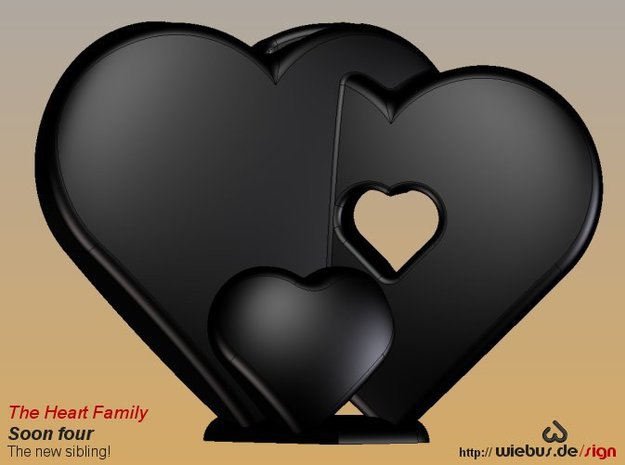 Heart Family - Soon four! (small size) 3d printed