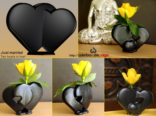 Heart Family - Just married! (large size) in Matte Gold Steel