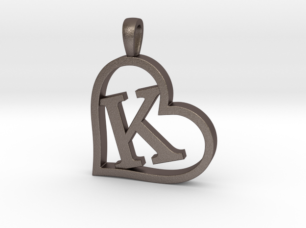 Alpha Heart 'K' Series 1 in Polished Bronzed Silver Steel