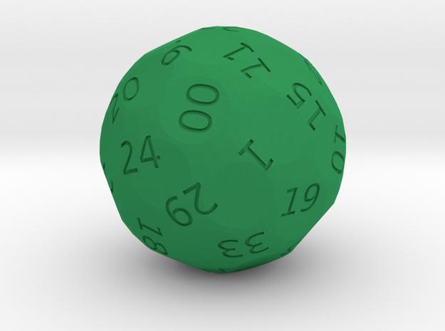 d38 Roulette die in Green Processed Versatile Plastic