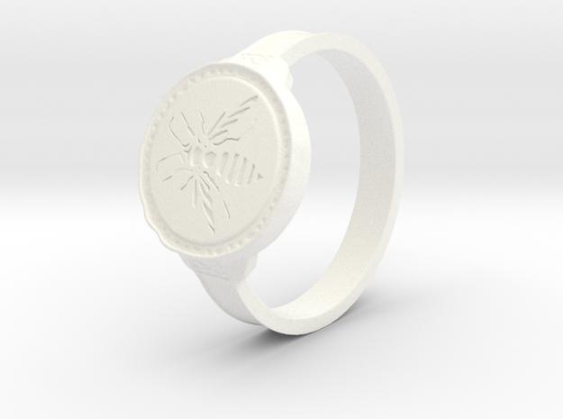 Hornet Ring in White Processed Versatile Plastic