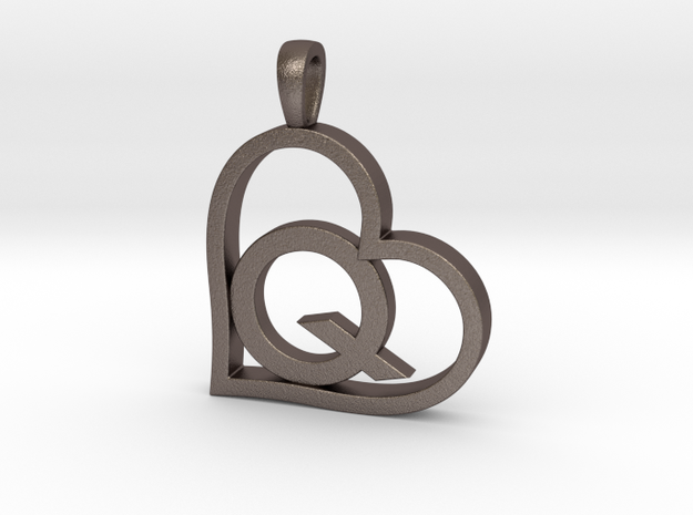 Alpha Heart 'Q' Series 1 in Polished Bronzed Silver Steel