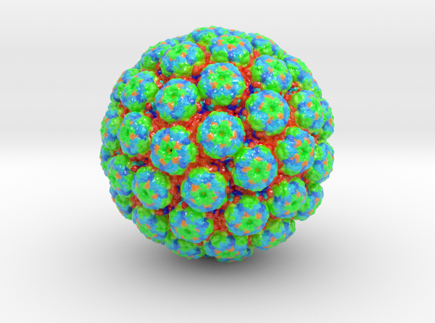 Polyomavirus Colored (3 sizes) in Glossy Full Color Sandstone: Small