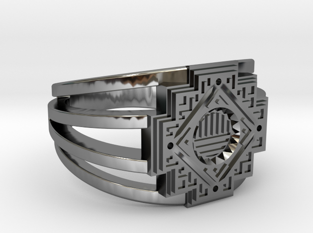 Inca Cross Ring in Fine Detail Polished Silver: 7 / 54