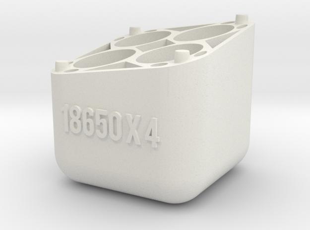 Swedish Vaper 18650x4 Battery Holder BASE in White Natural Versatile Plastic