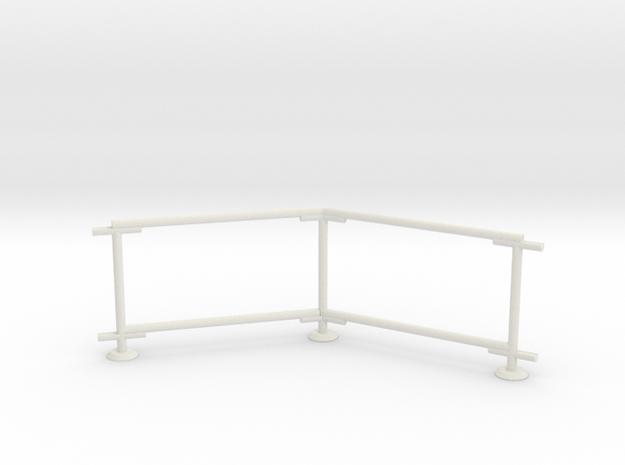 6' Chain-link Barrier Fence   45 deg Corner (HO) in White Natural Versatile Plastic: 1:87 - HO