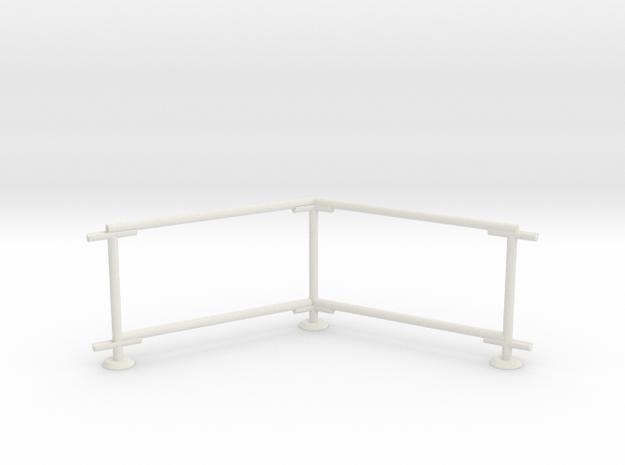6' Chain-link Barrier Fence   60 deg. Corner (HO) in White Natural Versatile Plastic: 1:87 - HO