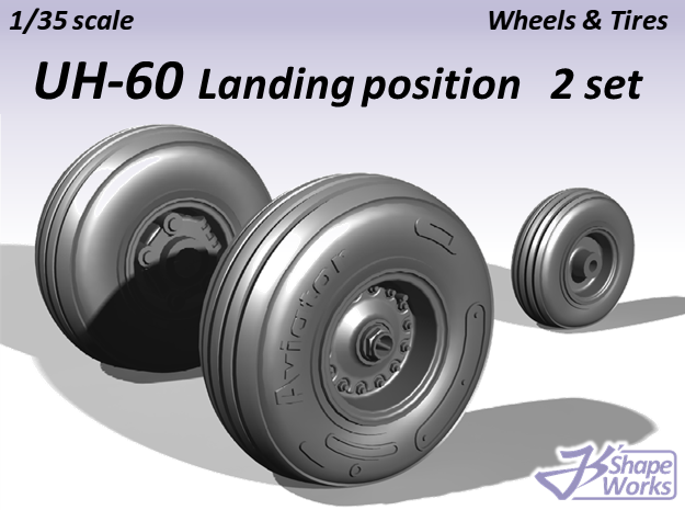 1/35 UH-60 Wheels & Tires Landing position 2 set in Smooth Fine Detail Plastic