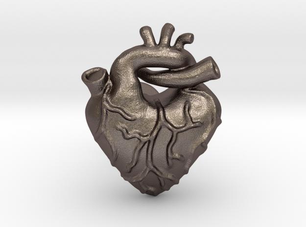 Anatomical Love Heart Cufflink in Stainless Steel