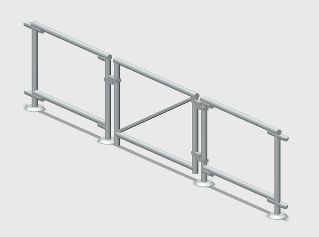 6' Chain-link Vehicle Gate in White Natural Versatile Plastic: 1:87 - HO