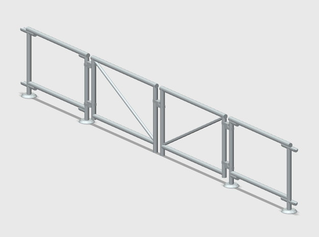 6' Chain-link Fence   Swinging Double Gate (HO) in Smooth Fine Detail Plastic: 1:87 - HO