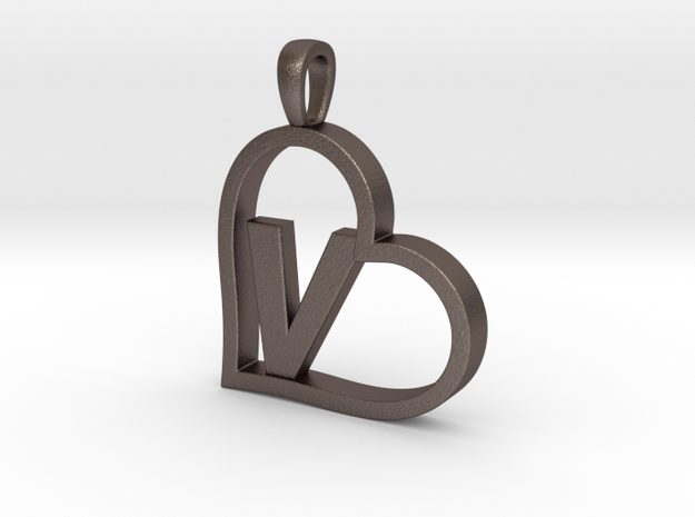 Alpha Heart 'V' Series 1 in Polished Bronzed Silver Steel