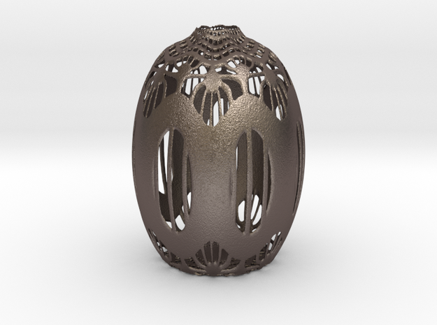 Vase 142 in Polished Bronzed Silver Steel