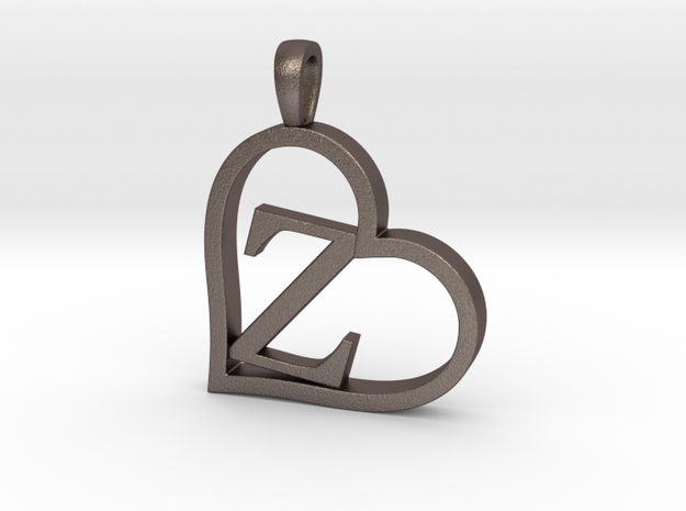 Alpha Heart 'Z' Series 1 in Polished Bronzed Silver Steel