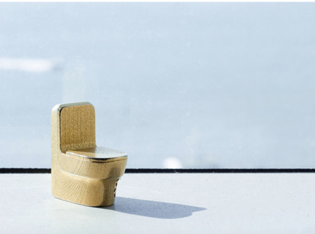 Toilet 3d printed Gold Plated Brass