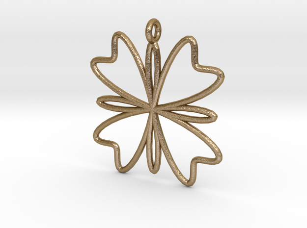 Four Petal Pendant in Polished Gold Steel