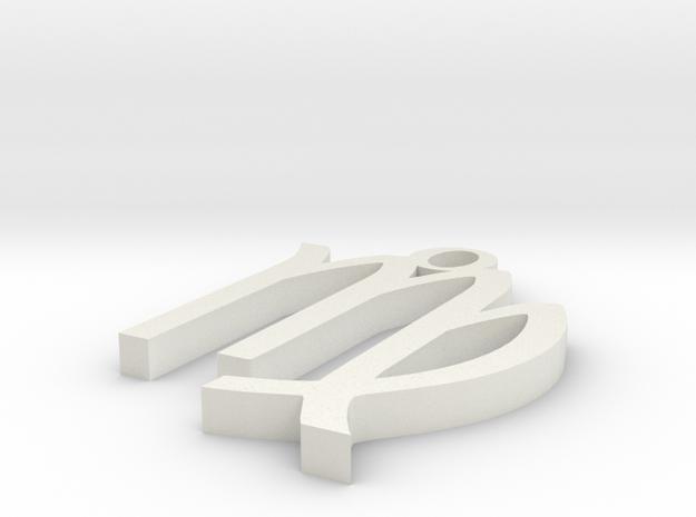 Virgo Pendant in White Natural Versatile Plastic