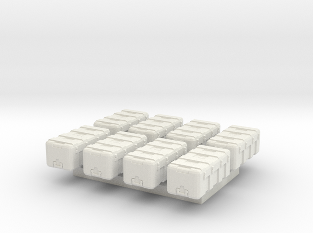 1/87 Scale Equipment Cases x8 in White Natural Versatile Plastic