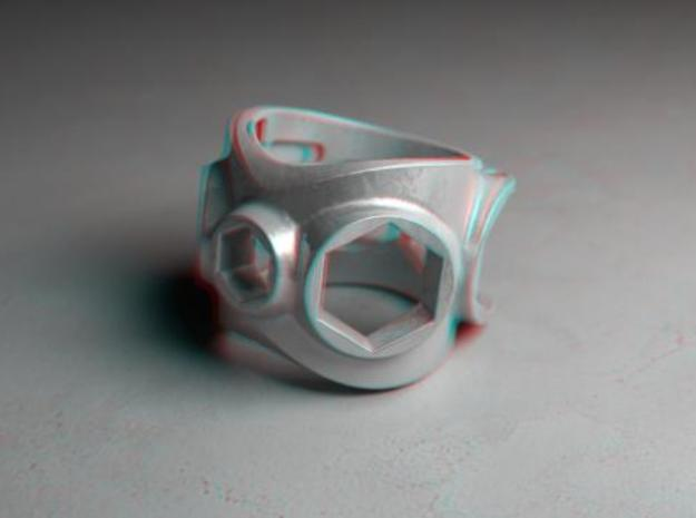 1086 ToolRing - size 11 (20,60 mm) 3d printed 1086 ToolRing - Anaglyph (front)