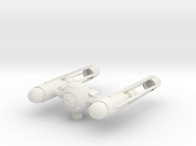 Tie Wing Fighter with Hyperdrive in White Natural Versatile Plastic