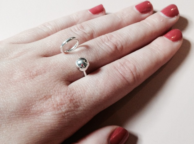 Ball HOOP Ring in Fine Detail Polished Silver: Small