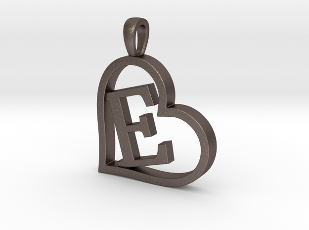 Alpha Heart 'E' Series 1 in Polished Bronzed Silver Steel