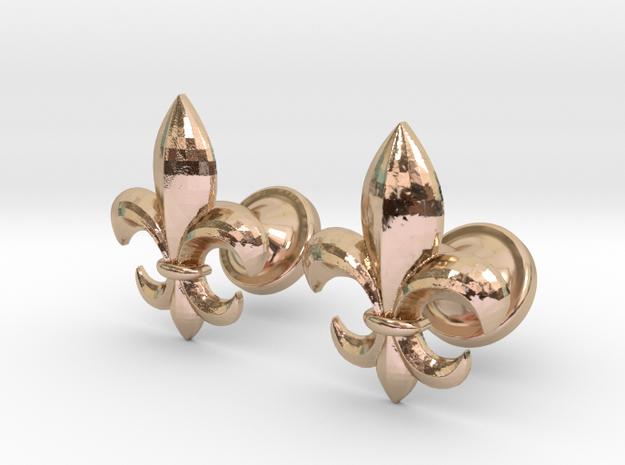 fleur de lis cufflinks in 14k Rose Gold Plated Brass