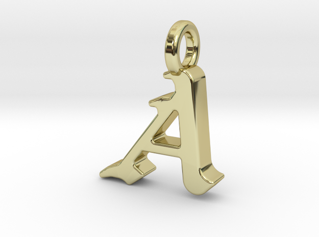 A - Pendant - 2mm thk. in 18k Gold Plated Brass