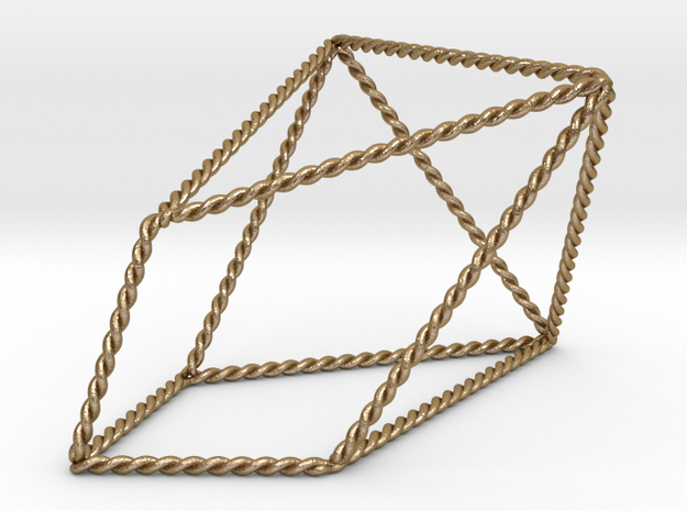 """Twisted Chestahedron 2.2"""" in Polished Gold Steel"""