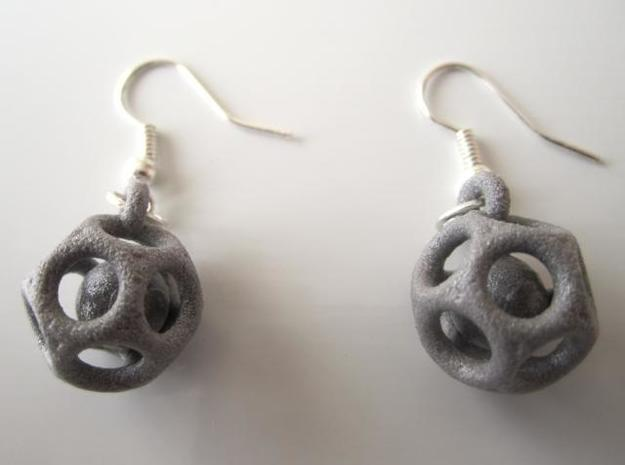 Dod Earrings w/ Spheres 3d printed In alumide (and manually varnished, hooks not included)