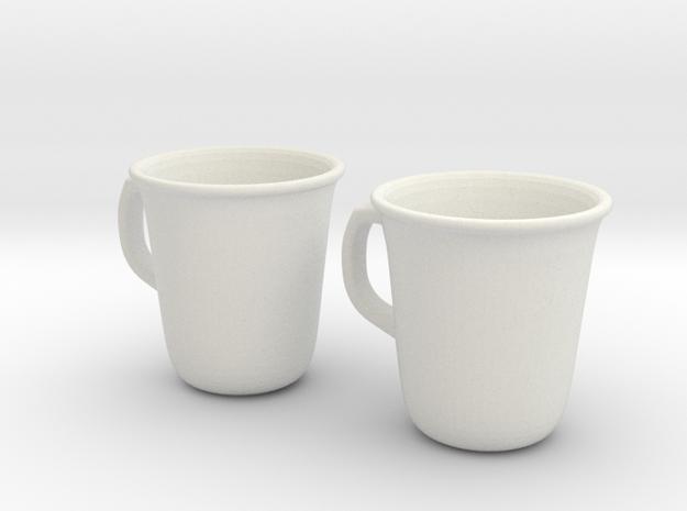 Coffee Tea cup mug set 1/6 miniature in White Natural Versatile Plastic