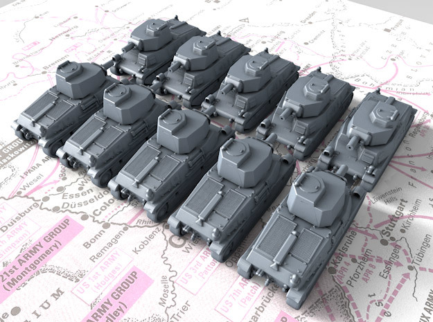 1/700 French SARL 42 Medium Tank x10 in Smoothest Fine Detail Plastic