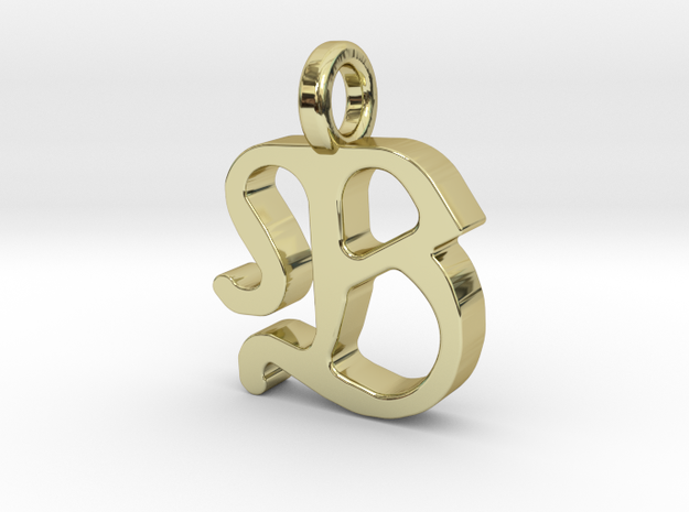 B - Pendant - 2mm thk. in 18k Gold Plated Brass