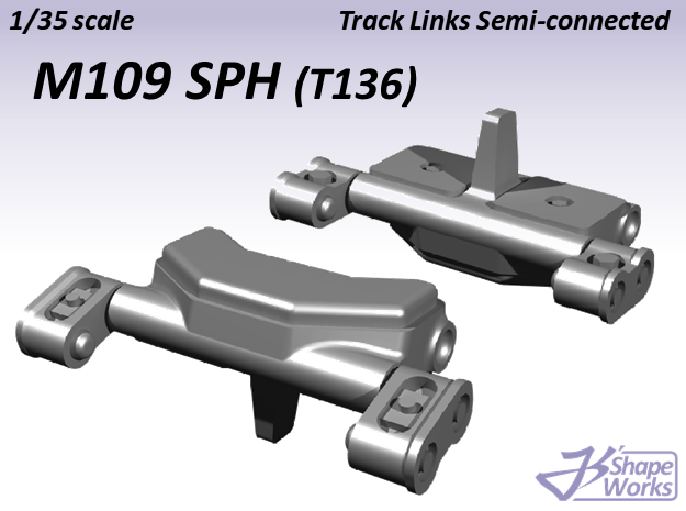 1/35 M109 SPH Track Links semi-connected in Smooth Fine Detail Plastic