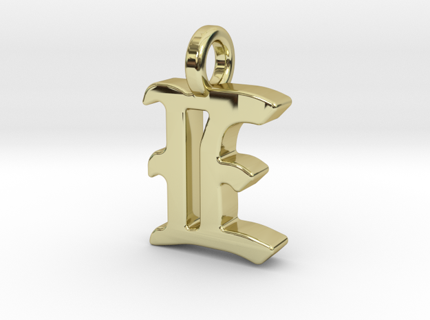 E - Pendant - 2mm thk. in 18k Gold Plated Brass