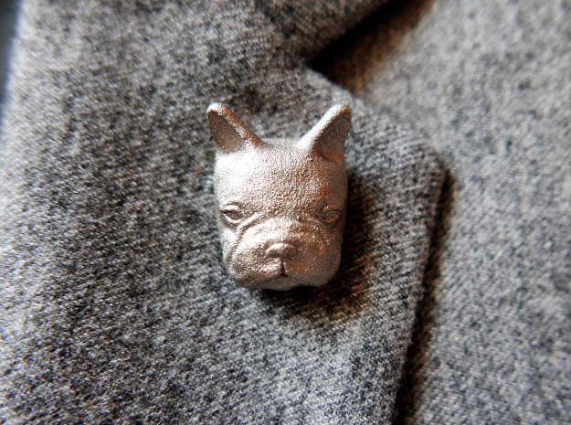 French Bulldog Lapel Pin in Polished Nickel Steel