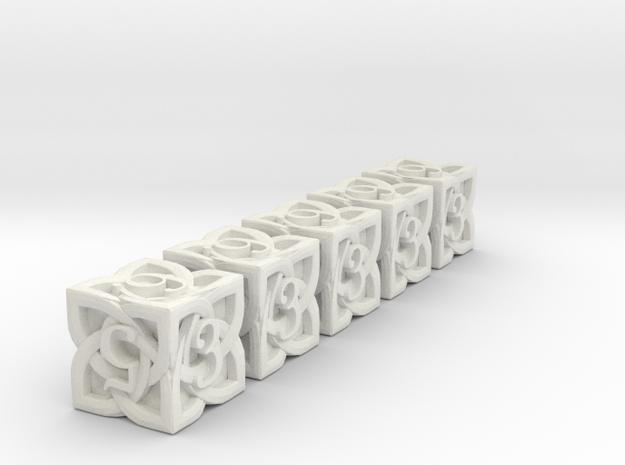Celtic D6 x5 Dice Set - Solid Centre for Plastic in White Natural Versatile Plastic