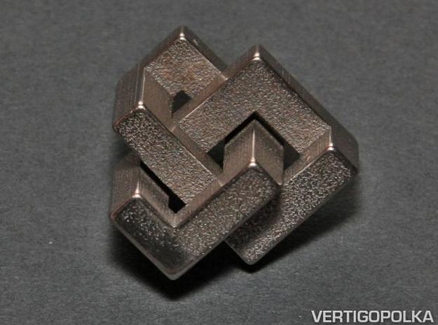 Cubic Trefoil Knot 1inch in Polished Bronzed Silver Steel